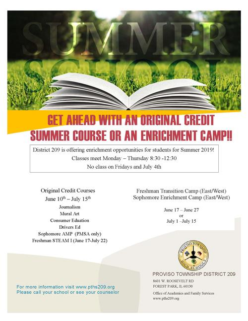 Summer School Original Credit or Enrichment Courses
