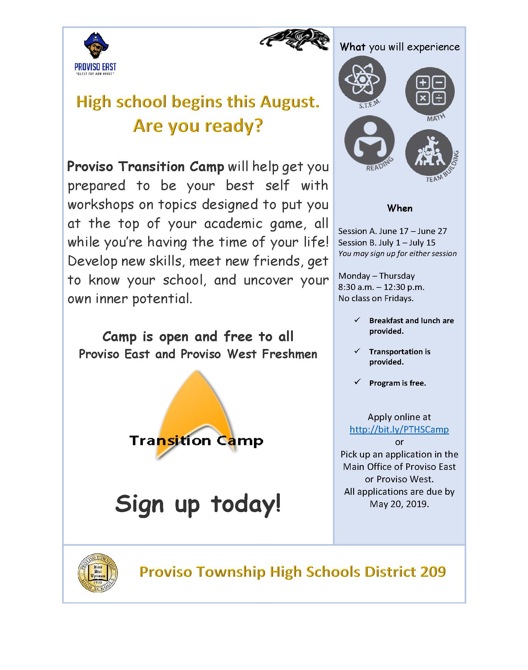 Summer School High School Transition Camp