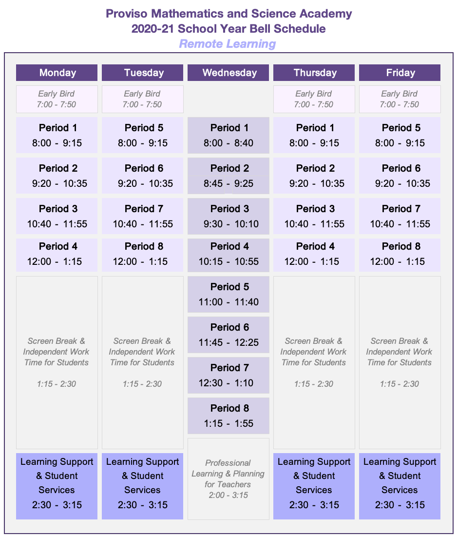 PMSA Remote Learning Bell Schedule