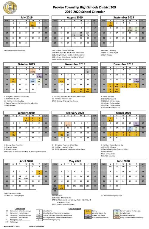 Bus Christmas Trip Proviso Township 2020 District Calendar / Approved District Calendars