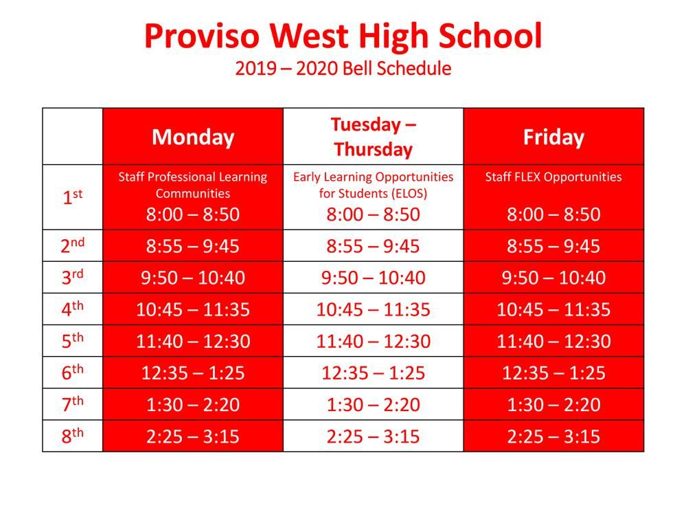 2019 - 2020 School Year Bell Schedule